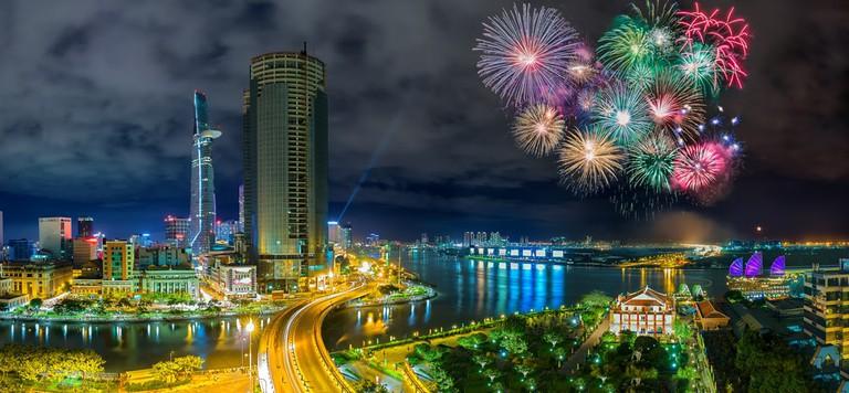 Fireworks over Ho Chi Minh City   © Thoai/Shutterstock