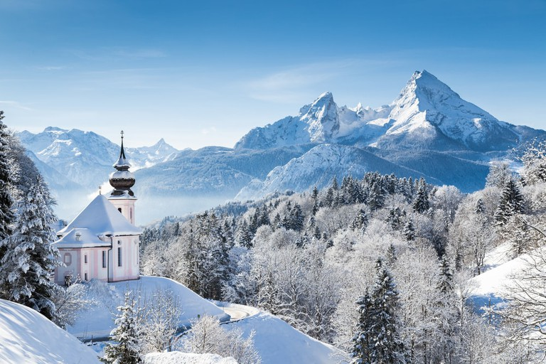 Pilgrimage church of Maria Gern and the famous Watzmann summit in Berchtesgadener Land