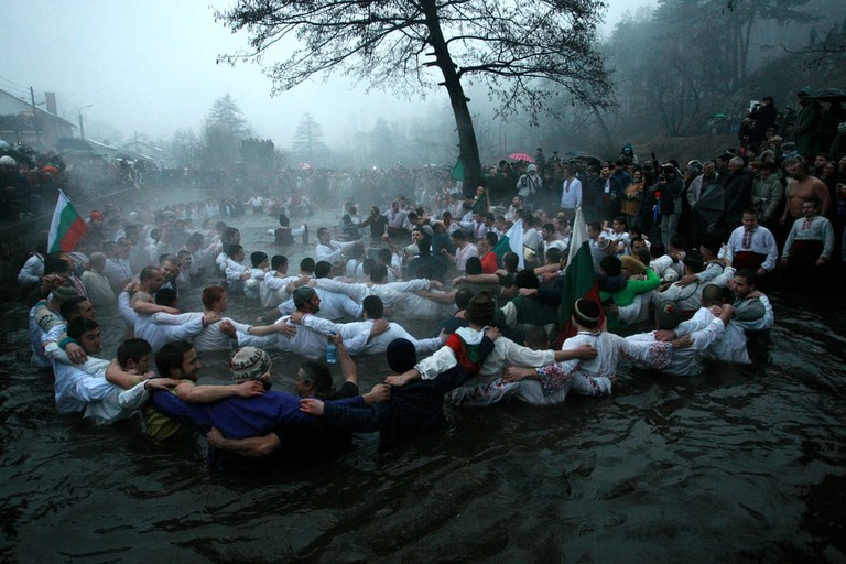 Dancing in the icy water in Kalofer, Bulgaria