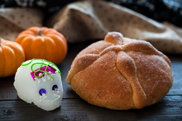 Candy Skull and Bread of the Dead in Mexico