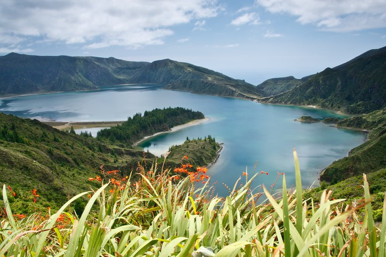 Lagoa do Fogo, a volcanic lake on Sao Miguel island, Azores