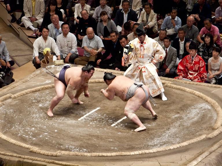 Professional sumo wresting bout at a honbasho