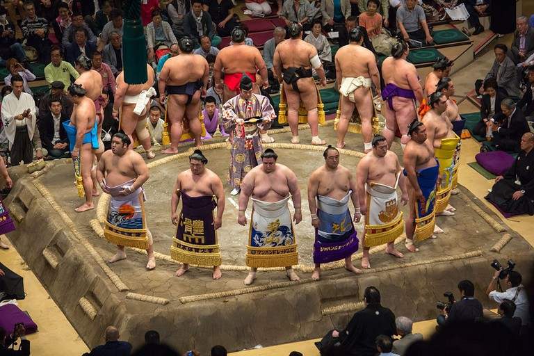 Makuuchi ranked wrestlers in the opening ceremony