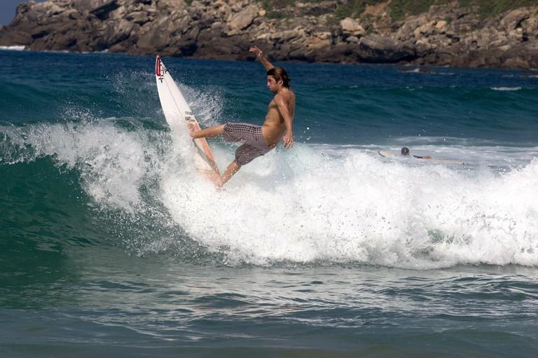 Surfing at Zurriola, San Sebastian, Spain