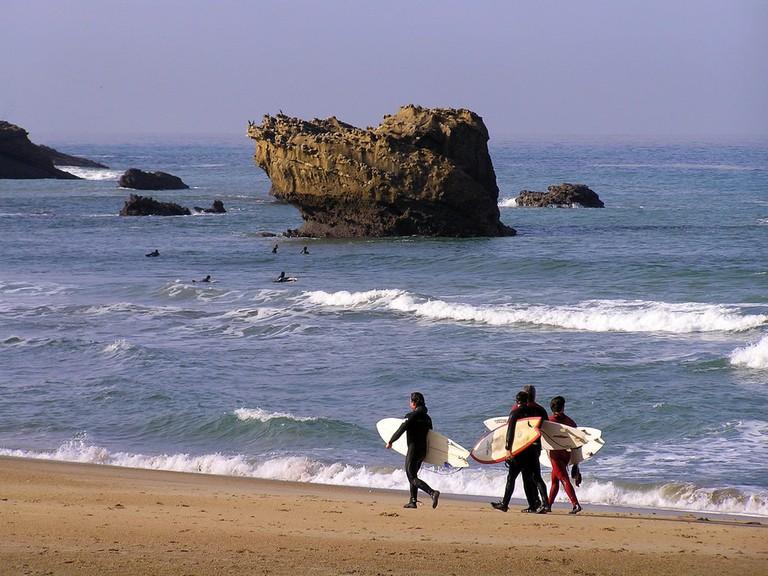 Surfing in Biarritz, France