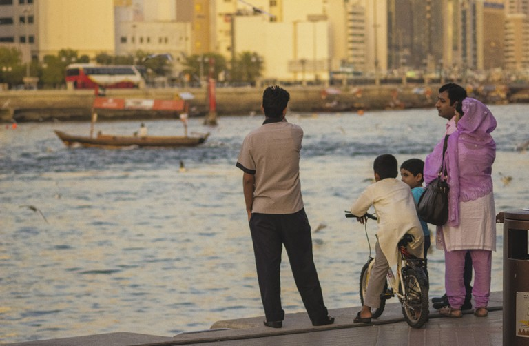 Family in Dubai enjoying the waterfront