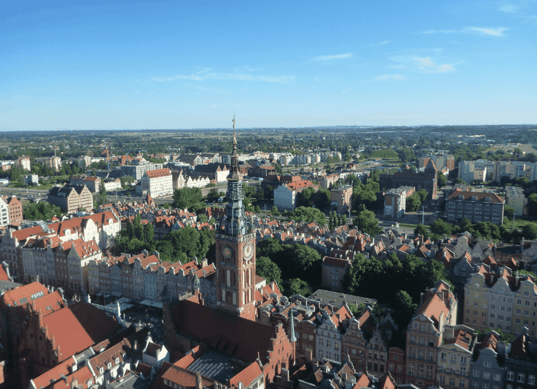 View from top of St Mary's Basilica Gdansk