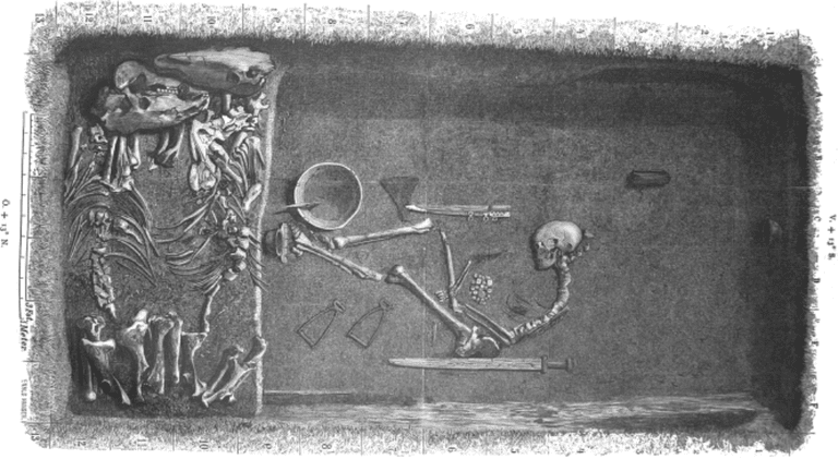 Viking_grave_Bj_581_in_Birka_Sweden_by_Hjalmar_Stolpe_in_1889
