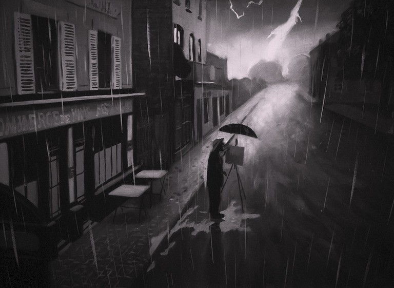 Vincent (Robert Gulaczyk) painting in the rain | © Good Deed Entertainment