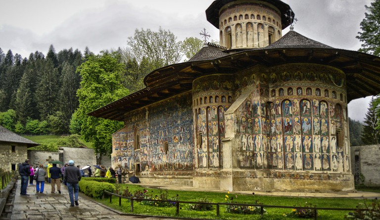 Outdoor frescoes at Voronet Church