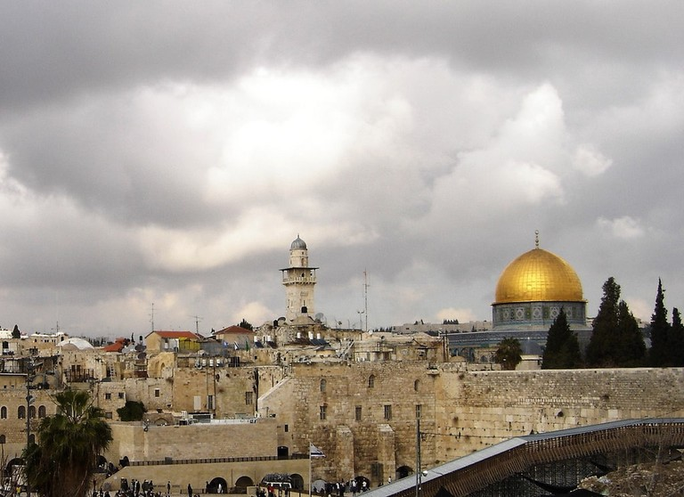 View of the Western Wall and The Golden Dome of the Rock, Jerusalem