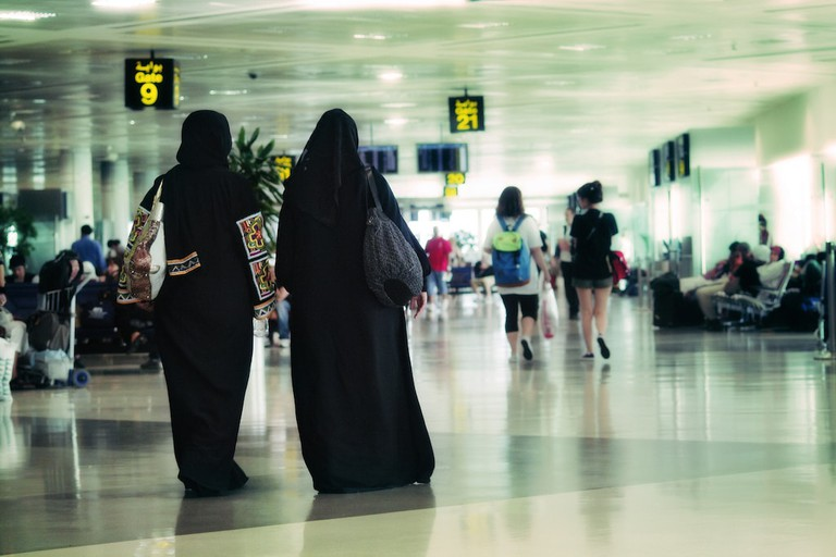 women in an airport