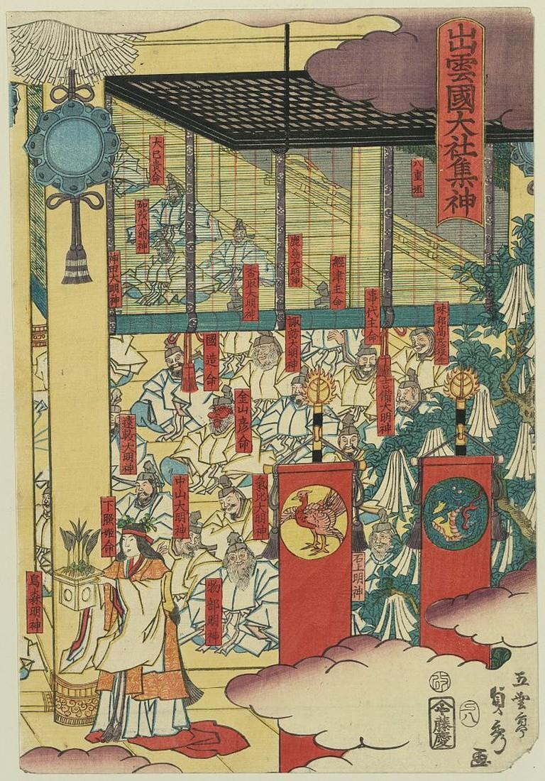 Utagawa Sadahide, Gathering of gods at the great shrine at Izumo, 1857