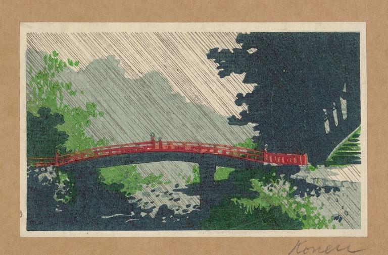 Uehara Konen, Rain over sacred bridge (shinkyō), c. 1910
