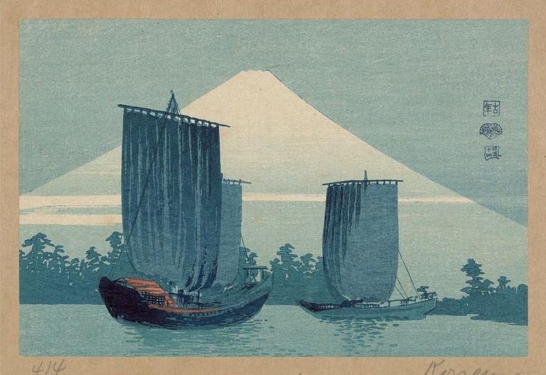 Uehara Konen, Sailboats and Mount Fuji, c. 1910