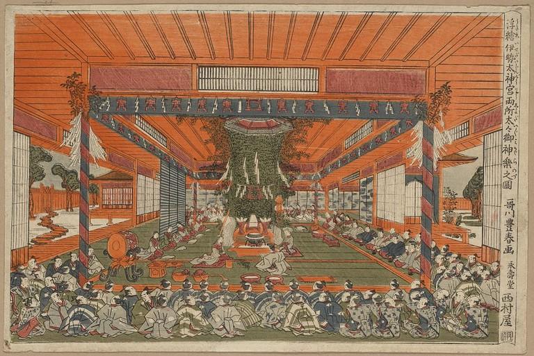 Utagawa Toyoharu, Perspective picture of the Daidai Kagura performance at the two sites, Ise Shrine, c. 1770