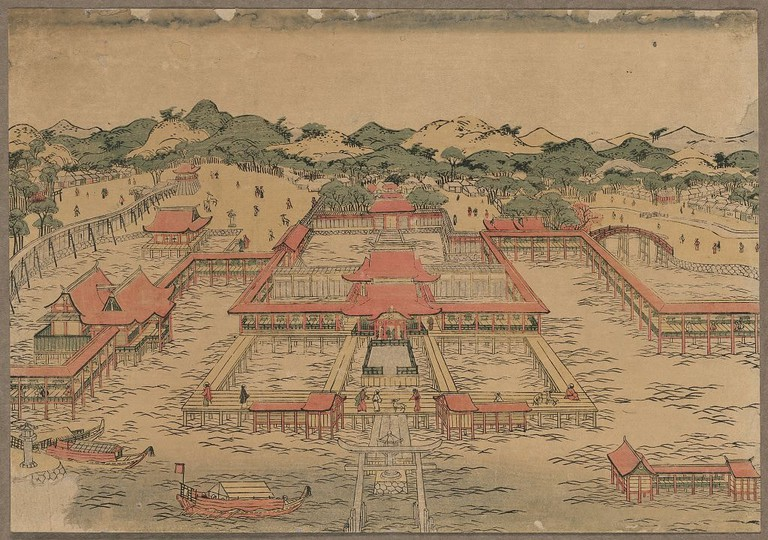Utagawa Toyoharu, A perspective picture of Itsukushima Shrine, c. 1770
