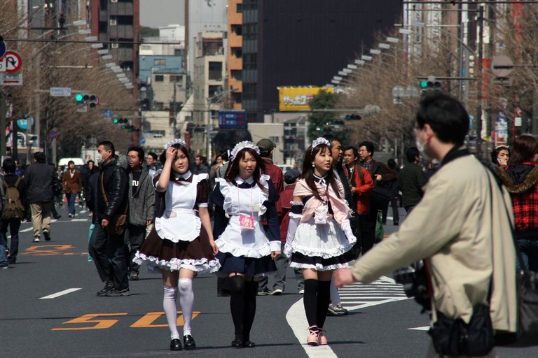 Maid café workers out for a stroll Akihabara