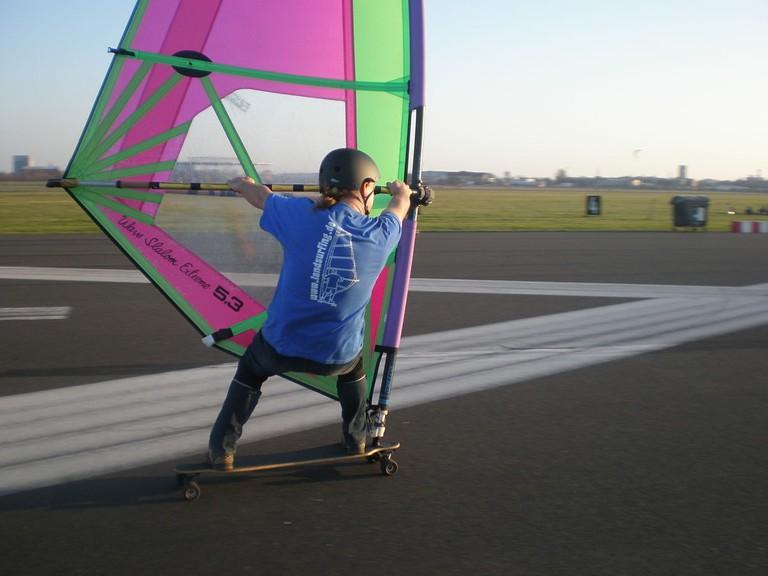 Kite-boarding at Tempelhof Feld