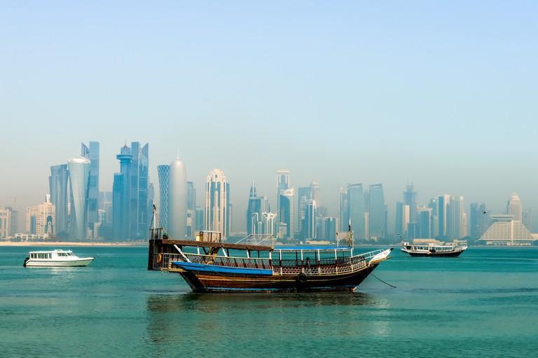 The skyline of Doha, Qatar's capital