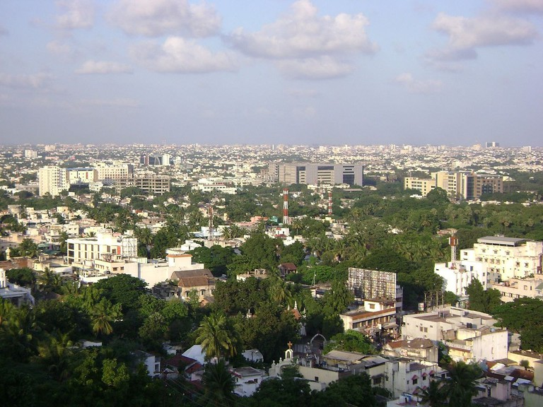 An aerial view of Chennai city from the top of St. Thomas Mount