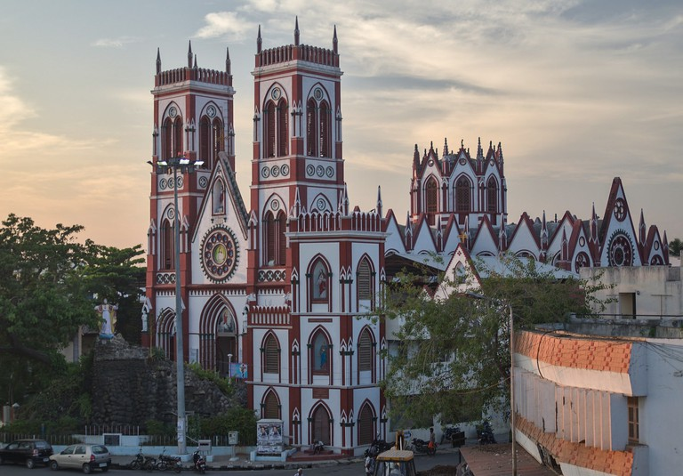 The beautiful red and white church in coastal town of Pondicherry