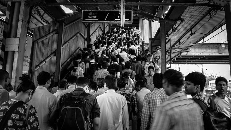 Crowded platform at the Mumbai Local