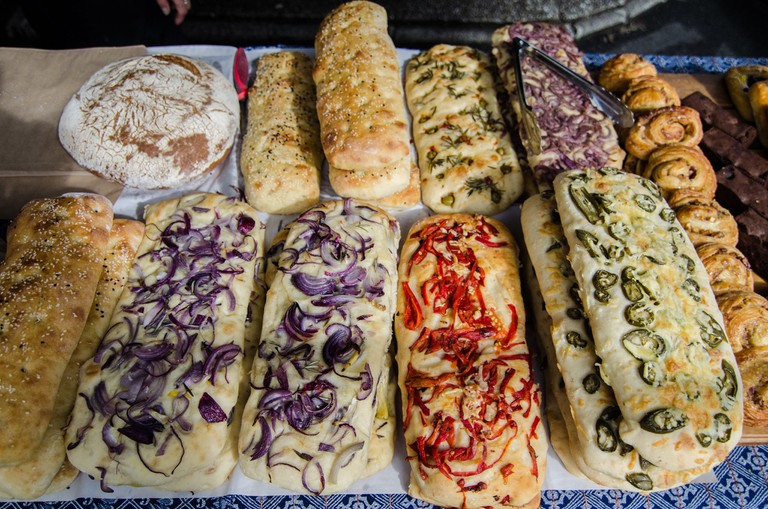 Artisan breads on sale at a market in Parnell, Auckland, New Zealand