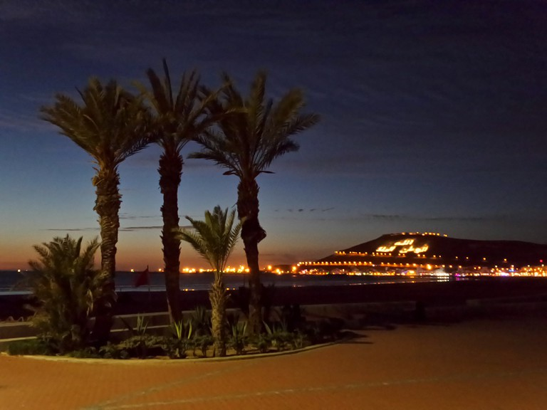 Palms and illuminated hill in Agadir at night