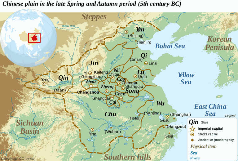Map of the Spring and Autumn Period