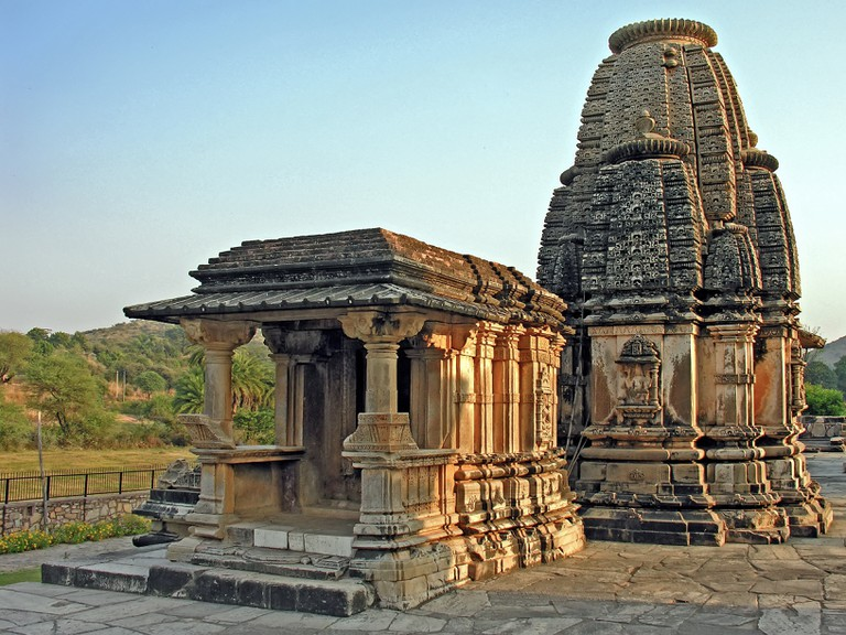 The intricately carved Sas-Bahu temple in full glory of the setting sun