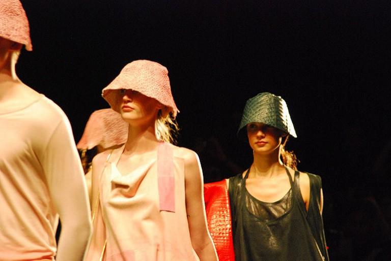 Models on the Osklen catwalk at São Paulo Fashion Week