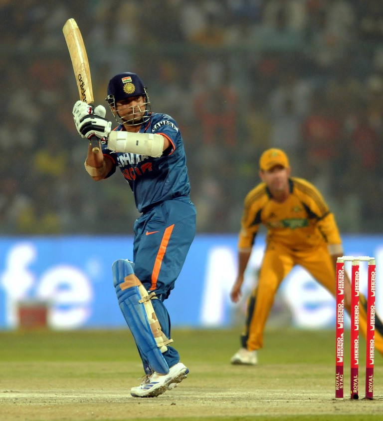 Sachin Tendulkar in an action against Australia