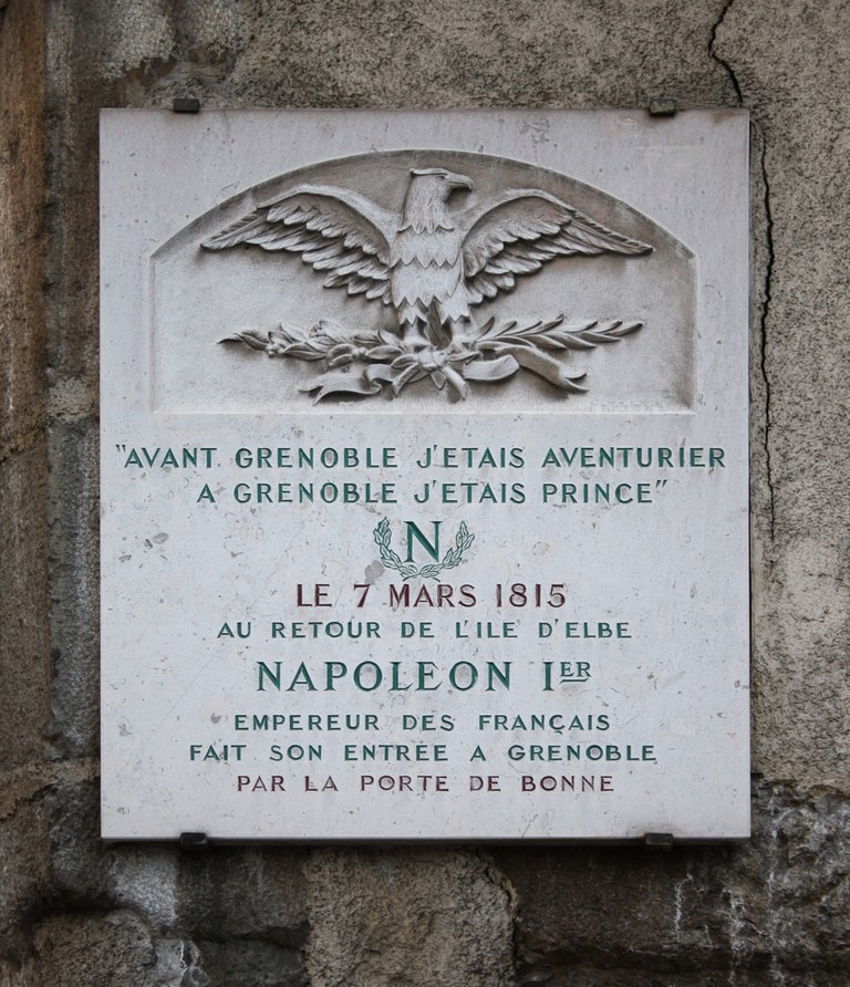The commemorative stone marking Napoleon's entry into Grenoble