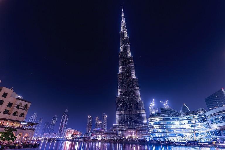 The Burj Khalifa at night