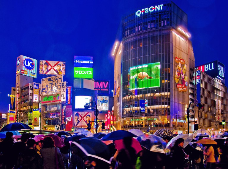 A rainy evening at Shibuya Crossing