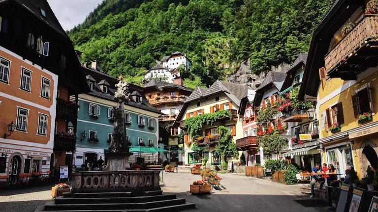 Centre of Hallstatt Village, Austria