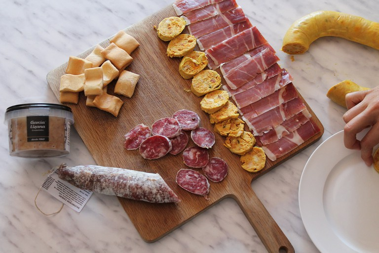 A selection of Spanish cured meats