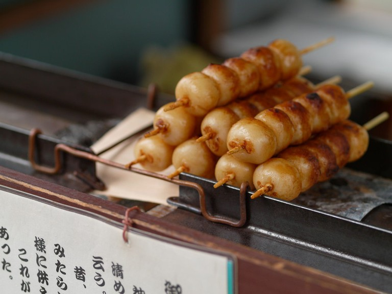 Grilled dango are a tasty snack