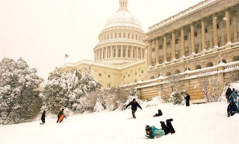 Sledding on Capitol Hill