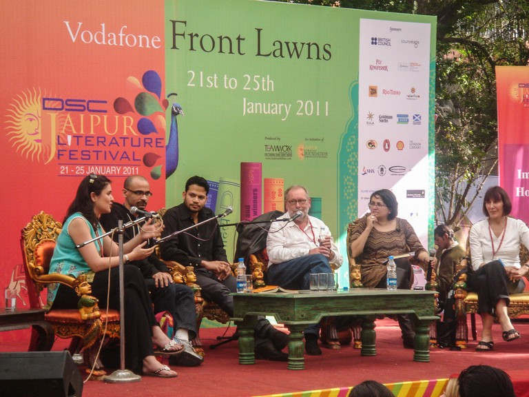 A moderated discussion at the Jaipur Lit Fest