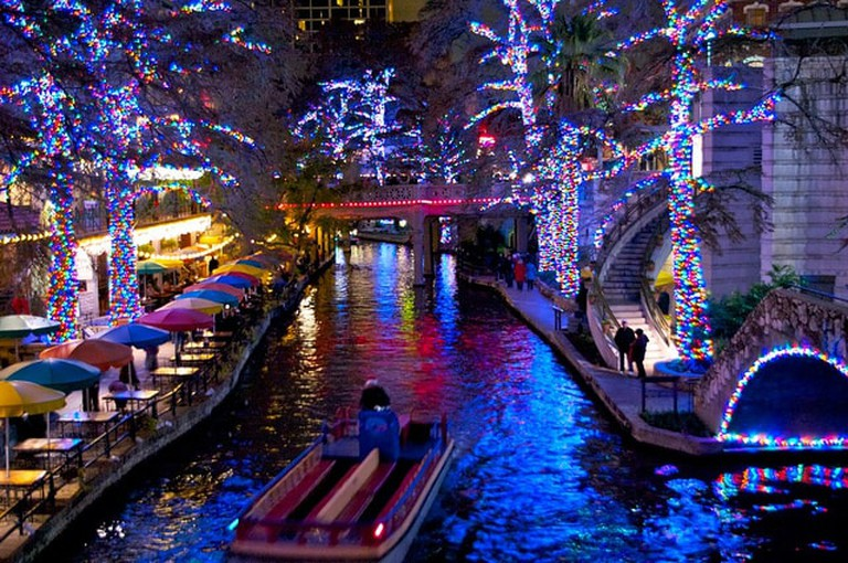 Christmas lights by the river in San Antonio I