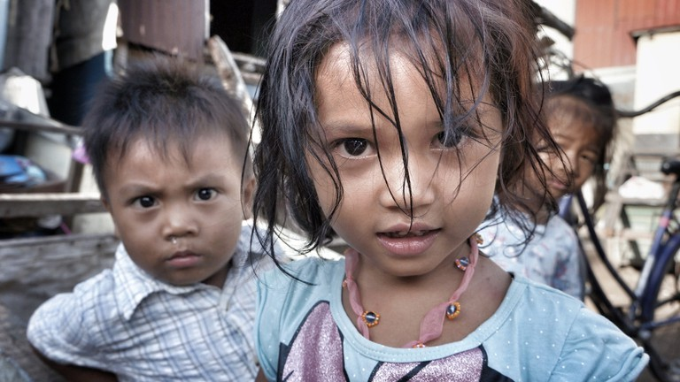 Children living in a slum, Cambodia