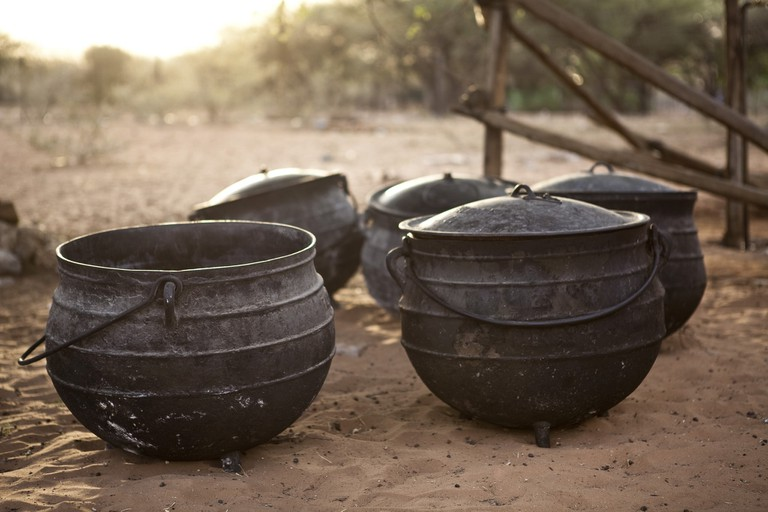Owambo chicken is often cooked in cast iron pots
