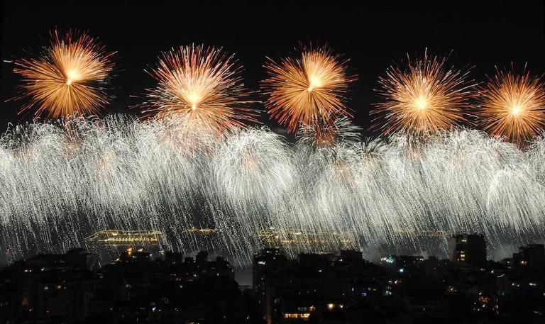New Year's fireworks on Copacabana Beach, Rio de Janeiro