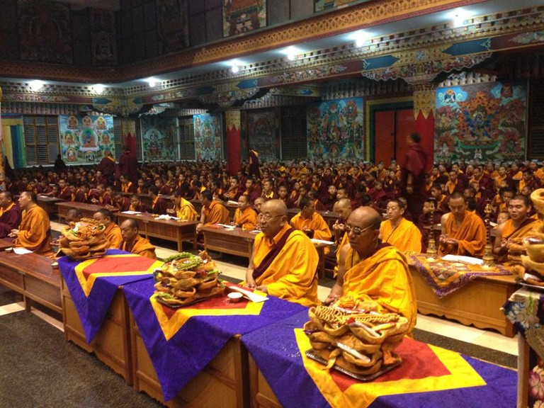 Celebration of Losar in progress at a monastery