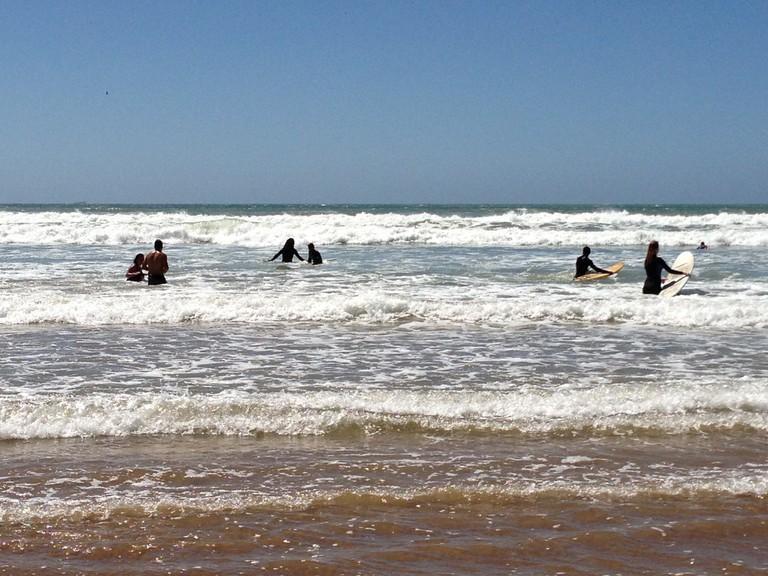 Surfing at Taghazout Beach, near Agadir