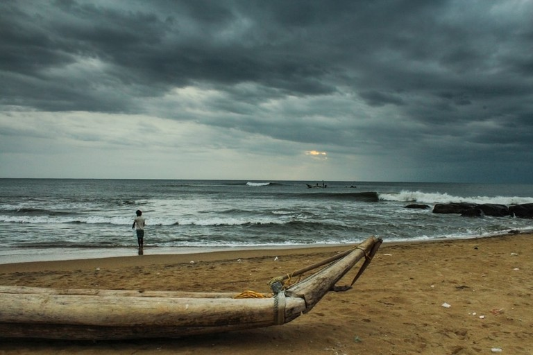 Chennai's Kovalam Beach on a cloudy day