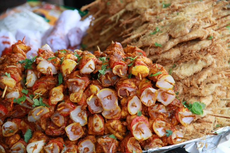 Heaps of kebab on roadside food stalls are common in India