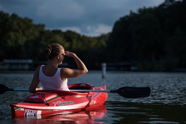 A woman on a kayak